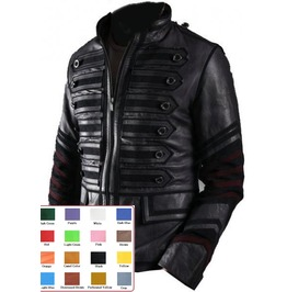 Mens Black Military Leather Jacket Front Zip Punk Rocker Coat $9 To Ship