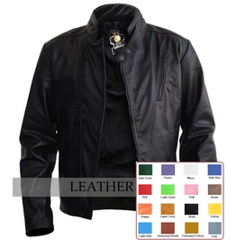 Mens Cool Black Leather Jacket Front Side Zip Punk Rocker Coat $9 To Ship
