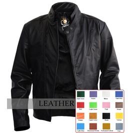Mens Cool Black Leather Jacket Front Side Zip Punk Rocker Coat
