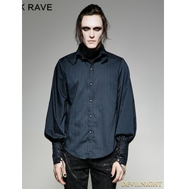 Blue Steampunk Striped Shirt For Men
