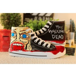 Anime Zombie Theme Dead Hand Painted Canvas Shoes Flat High Top Sneakers