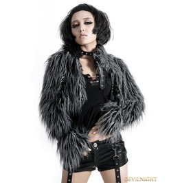 Gothic Punk Long Furry Ultra Short Jacket For Women