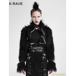 Black Gothic Punk Long Furry Ultra Short Jacket For Women