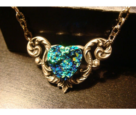 Blue Green Faux Druzy / Drusy Heart Necklace_Necklaces_3.JPG