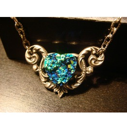 Blue Green Faux Druzy / Drusy Heart Necklace