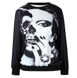 Lady Mask Print Sweatshirts