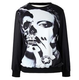 Lady Mask Print Sweatshirts
