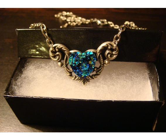 Blue Green Faux Druzy / Drusy Heart Necklace_Necklaces_2.JPG
