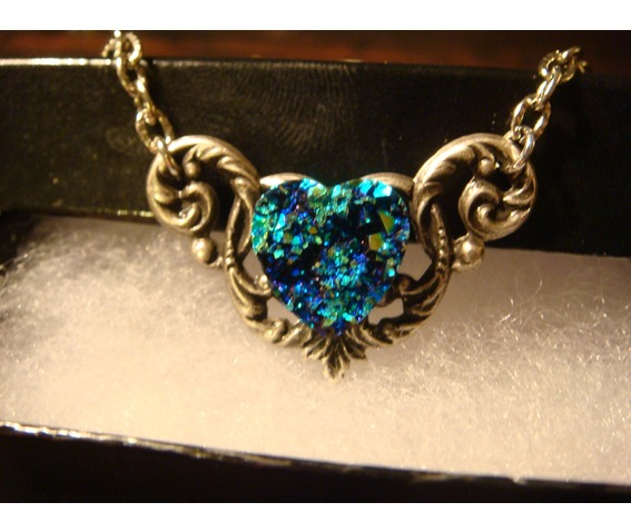 Blue Green Faux Druzy / Drusy Heart Necklace_Necklaces_6.JPG