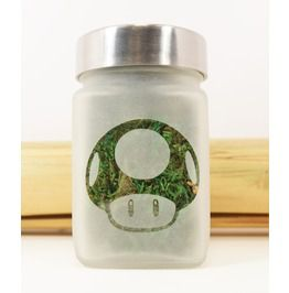 Power Up Mushroom Etched Glass Stash Jar Inspired By Super Mario Brothers