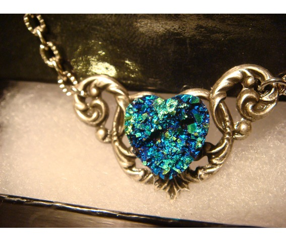 Blue Green Faux Druzy / Drusy Heart Necklace_Necklaces_5.JPG