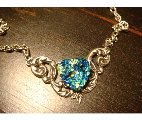Blue Green Faux Druzy / Drusy Heart Necklace_Necklaces_4.JPG