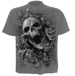 New Men,S Charcoal Skeleton Skulls T Shirt