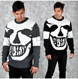 Big Smiling Skull Printed Knit Sweater 37