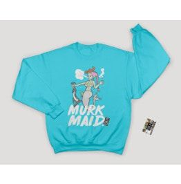 Black Or Turquoise Sweater Mermaid Design Printed Hip Hop Vintage Style