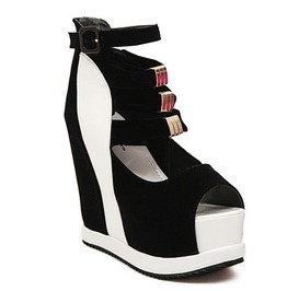 Black And White Wedge Peep Toe Shoe