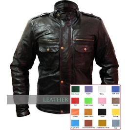 Mens Diesel Punk Black Leather Front Snap Zip Jacket Rocker Coat $9 To Ship