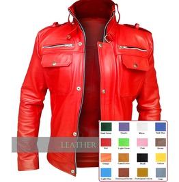 Choose Color: Mens Leather Front Snap Zip Jacket Rocker Coat