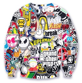 Street Fashion Pattern Print Sweatshirts