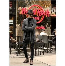 British Style Fashion Men Gray Cardigan