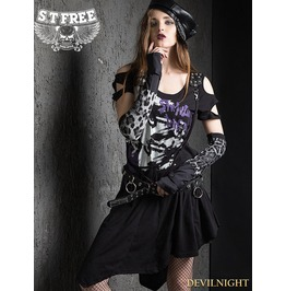 Black Gothic Punk A Line Asymmetric Dress