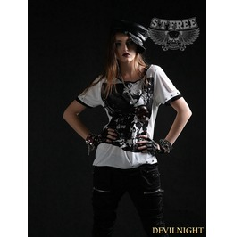 White Gothic Punk Asymmetric Collar Short Sleeves T Shirt For Women