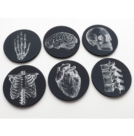 Anatomy Coasters Goth Decor Skull Anatomical Heart Brain Black And White