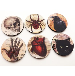 Halloween Coasters Goth Decor Macabre Skull Spider Anatomical Heart