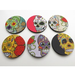 Day Of The Dead Coasters Goth Decor Sugar Skulls Dia De Los Muertos