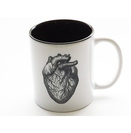 Anatomical Heart Coffee Mug Medical Goth Decor Black And White