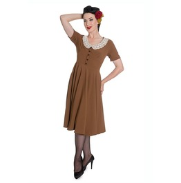 Brand New 1940s Vintage Inspired Mid Brown Tea Dress