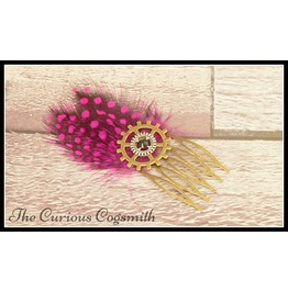 Pink Feather Steampunk Hair Comb