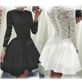 Lolita Round Neck Long Sleeved Black Or White Lace Dress Bb0037pp
