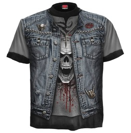 Men,S Black New Allover Print Metal Skulls T Shirt