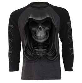 Men,S Black Long Sleeve Charcoal Reaper Death Skulls T Shirt