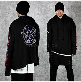 Multiple Unique Lettering Accent Extra Long Sleeve Hoodie 101