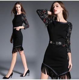 Elegant Retro Fringe Office Dress Boat Neck Asymmetrical Tassel Dress