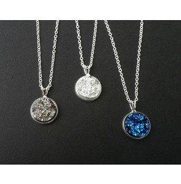 Dainty Titanium Druzy Pendant Necklace 925 Silver Gemstone Crystal Necklace