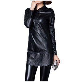 Womens Faux Leather Shirt