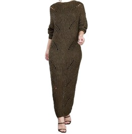 Brick Color Sweater Maxi Dress