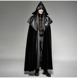 Dark Cult Vampire Mediaval Gothic Cosplay Black Cape Cloak