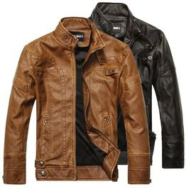 Men Motorcycle Pu Leather Slim Jacket Leather Clothing Winter Warm Coats