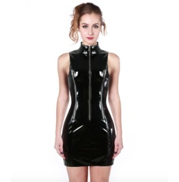 Women's Gothic Black Glossy Body Con Dress