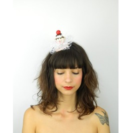 Fascinator Headpiece With Vintage Shabby Chic Cherry Cupcake And Veil