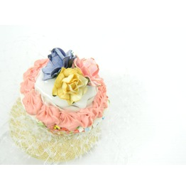 Fascinator Headpiece With Vintage Shabby Chic Rose Cupcake And Veil
