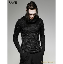 Black Gothic Hole Hooded T Shirt For Men