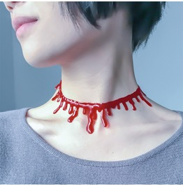 Halloween Party Punk Rock Blood Red Stitch Choker Necklace