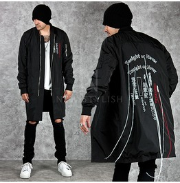 Japanese Lettering Accent Multiple Back Strap Black Long Jacket 217