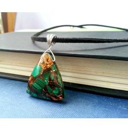 Malachite In Bornite Pendant Wire Wrapped Pendant Gemstone Necklace Ooak