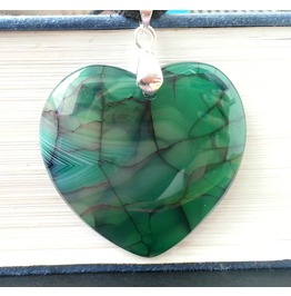 Mysterious Heart Ooak Green Agate Pendant 18 Kgp Gemstone Necklace Ooak